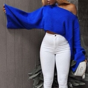 Lovely Casual Loose Blue Sweater