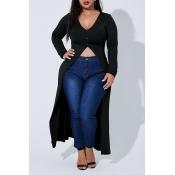 Lovely Casual Asymmetrical X Long Black Plus Size