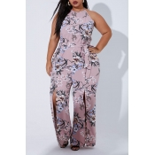 Lovely Casual Printed Dusty Pink Plus Size One-pie