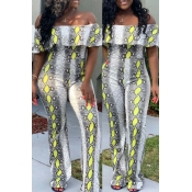Lovely Trendy Dew Shoulder Yellow One-piece Jumpsuit