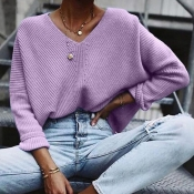 Lovely Leisure V Neck Purple Sweater
