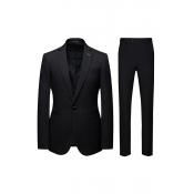 Lovely Trendy Turndown Collar Black Two-piece Pants Set