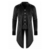 Lovely Casual Buttons Design Black Formal Wear
