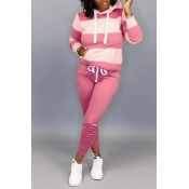 Lovely Casual Hooded Collar Patchwork Pink Two-piece Pants Set