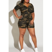 Lovely Casual Camouflage Printed Plus Size One-pie