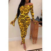 Lovely Sexy Leopard Printed Yellow Two-piece Pants
