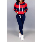 Lovely Casual Hooded Collar Patchwork Navy Blue Tw