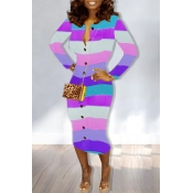 Lovely Casual Striped Purple  Mid Calf Dress