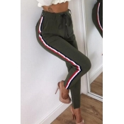 Lovely Casual Striped Army Green Pants