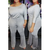 Lovely Trendy One Shoulder Grey Plus Size One-piec