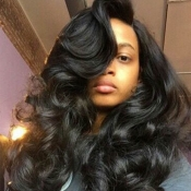 Lovely Casual Natural Looking Long Wavy Carbon Bla