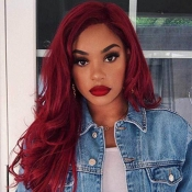 Lovely Chic Long Wavy Wine Red Wigs