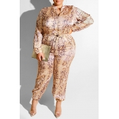 Lovely Casual Printed Yellow Plus Size One-piece Jumpsuit