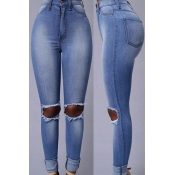 Lovely Leisure Hollow-out Blue Jeans