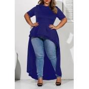 Lovely Casual Asymmetrical Deep Blue Plus Size Blo