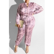 Lovely Casual Printed Purple Plus Size One-piece J
