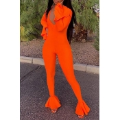 Lovely Casual Flounce Design Orange One-piece Jump