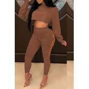 Lovely Casual Letter Printed Loose Brown Two-piece