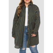 Lovely Casual Striped Blackish Green Plus Size Coa