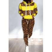 Lovely Trendy Hooded Collar Printed Yellow Two-piece Pants Set