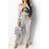Lovely Casual Lip Printed Grey One-piece Jumpsuit