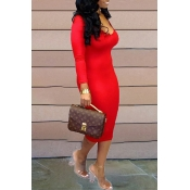 Lovely Casual U Neck Red  Knee Length Dress