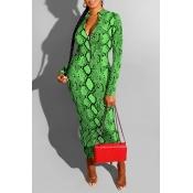 Lovely Casual Snakeskin Printed Green Ankle Length