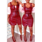 Lovely Casual Zipper Design Wine Red Mini Dress