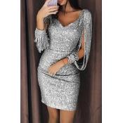 Lovely Party Tassel Design Grey Mini Prom Dress