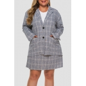 Lovely Trendy Turndown Collar Grid Printed Grey Pl