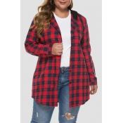 Lovely Casual Hooded Collar Plaid Printed Red Plus Size Coat