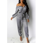Lovely Casual Buttons Design Grey One-piece Jumpsu