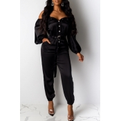 Lovely Casual Buttons Design Black One-piece Jumpsuit