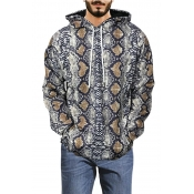 Lovely Casual Hooded Collar Snakeskin Printed Yell