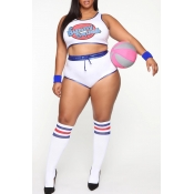 Lovely Cosplay Letter Printed White Two-piece Shor