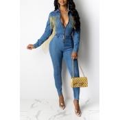 Lovely Chic Tassel Design Blue One-piece Jumpsuit