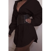 Lovely Casual Turndown Collar Black Mini Dress(Wit