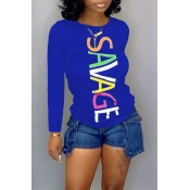 Lovely Trendy Letter Printed Blue T-shirt