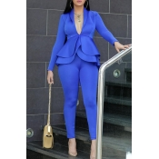 Lovely Work Deep V Neck Layered Blue Two-piece Pan