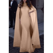 Lovely Party Cloak Design Gold Floor Length Trumpe