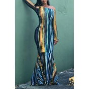 Lovely Casual Striped Blue Floor Length Trumpet Me
