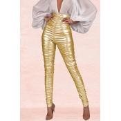Lovely Work Ruffle Design Gold Pants