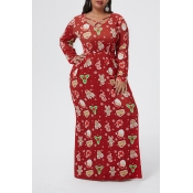 Lovely Casual V Neck Printed Red Floor Plus Size D