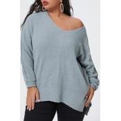 Lovely Trendy V Neck Basic Grey Plus Size Sweater