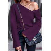 Lovely Work Dew Shoulder Purple Sweater