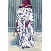 Lovely Casual Striped Printed White Floor Length D