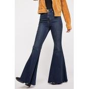 Lovely Trendy Flared Deep Blue Jeans