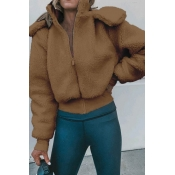 Lovely Chic Zipper Design Khaki Teddy Coat