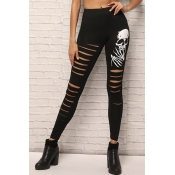 Lovely Leisure Broken Holes Black Leggings