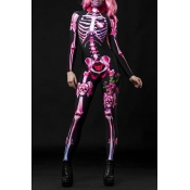 Lovely Cosplay Skull Printed Pink One-piece Jumpsu